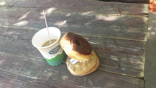 My breakfast in Vermont: a doughnut, cookie and Green Mountain Coffee