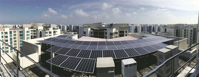 Solar panels on HDB rooftop