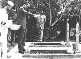 Kalibata Heroes Cemetery in 1973: Singapore's first Prime Minister Lee Kuan Yew scattering flowers on the graves of Usman Mohamed Ali and Harun Said, the Indonesian Marines who carried out the MacDonald House bombing in Singapore in 1965. It was the worst ever terrorist attack on Singaporean soil.