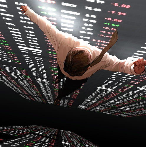 A fictitious picture of a man plunging from a great height in front of a giant stock price monitor