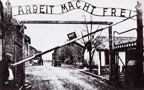 "The infamous Auschwitz concentration camp in Nazi Germany with its slogan 'Arbeit Macht Frei', which means ""Work Makes You Free""."