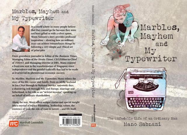 The cover of 'Marbles, Mayhem and My Typewriter' by Mano Sabnani